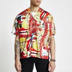 River Island Mens Jaded London orange print regular fit shirt