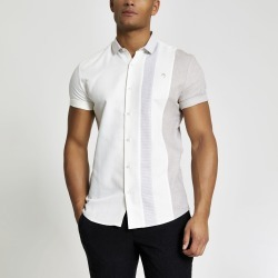Mens River Island Maison Riviera ecru blocked slim fit shirt