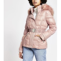 River Island Womens Pink padded faux fur hood belted jacket