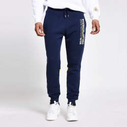 Mens River Island Prolific Navy colour blocked joggers