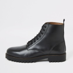 Mens River Island Black leather lace-up boots