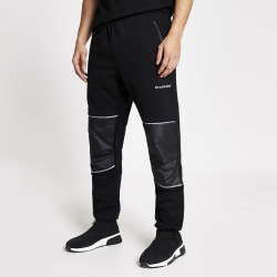 Mens River Island Arcminute Black relaxed fit joggers