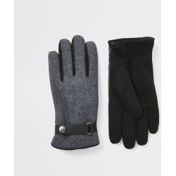 Mens River Island Grey leather cuffed gloves