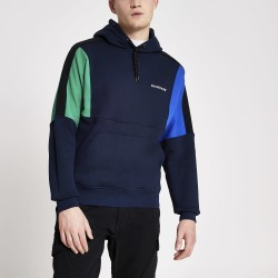 Mens River Island Arcminute Navy colour blocked hoodie