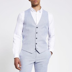 River Island Mens Blue textured slim waistcoat found on MODAPINS from RIver Island US for USD $80.00