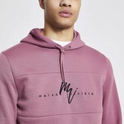 Mens River Island Maison Riviera Pink slim fit hoodie