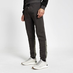 Mens River Island DVSN Black nylon colour blocked joggers