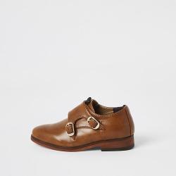 River Island Mini boys brown monk strap shoes
