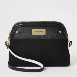 River Island Womens Black pocket front cross body bag