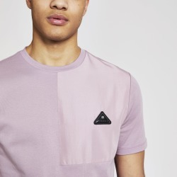 Mens River Island MCMLX Purple contrast badge slim fit T-shirt