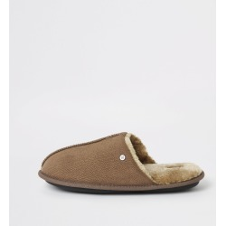 Mens River Island Brown faux fur lined mule slippers