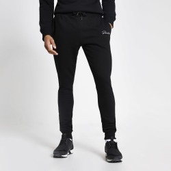 Mens River Island Prolific Black muscle fit joggers