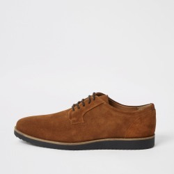 Mens River Island Brown suede cleated derby shoes
