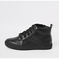 River Island Boys black RI monogram lace-up trainers found on Bargain Bro India from RIver Island US for $44.00
