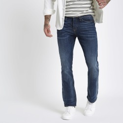 Mens Dark Blue Clint bootcut jeans found on MODAPINS from River Island - UK for USD $50.83