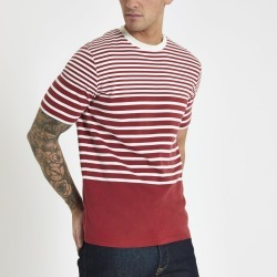 Mens River Island Selected Homme Red stripe T-shirt