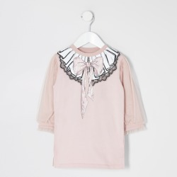 River Island Mini girls Pink mesh sleeve sweater dress found on Bargain Bro UK from River Island - UK
