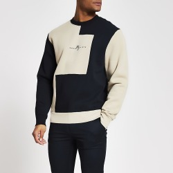 River Island Mens Maison Riviera navy blocked slim sweatshirt