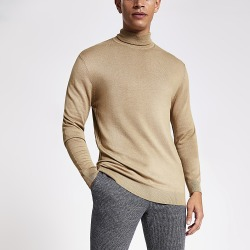 River Island Mens Brown slim fit roll neck knitted jumper