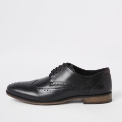 Mens River Island Black wide fit leather lace-up brogues found on Bargain Bro UK from River Island - UK