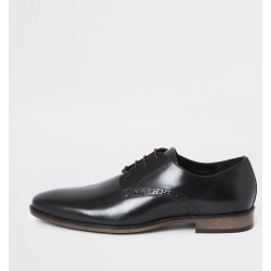 Mens River Island Black leather lace-up derby shoes