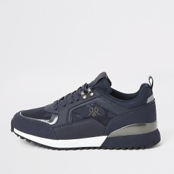 River Island Mens Navy lace-up runner trainers