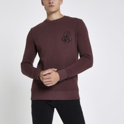 Mens Dark Red muscle fit crew neck sweatshirt found on MODAPINS from River Island - UK for USD $12.59