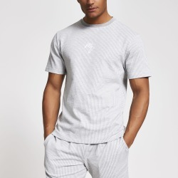 Mens River Island Maison Riviera Grey stripe slim fit T-shirt found on MODAPINS from River Island - UK for USD $22.54