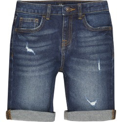 River Island Boys dark Blue rip Dylan slim fit shorts