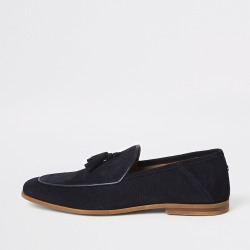 Mens River Island Navy textured tassel front wide fit loafers found on Bargain Bro UK from River Island - UK