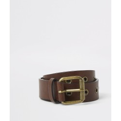 Mens River Island Brown eyelet buckle belt