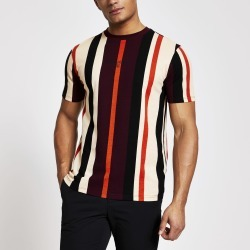 Mens River Island Maison Riviera Red stripe slim fit T-shirt