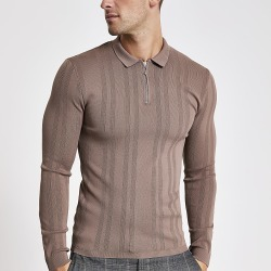 River Island Mens Brown textured muscle fit zip polo shirt
