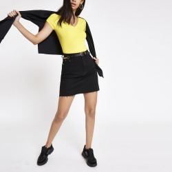 Womens Yellow ribbed V neck T-shirt found on MODAPINS from River Island - UK for USD $12.71