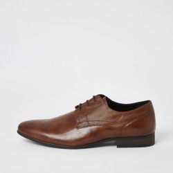 Mens River Island Brown embossed derby shoes