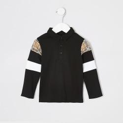 River Island Mini boys black check long sleeve polo shirt