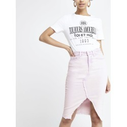 Womens Lilac denim pencil skirt found on MODAPINS from River Island - UK for USD $45.75