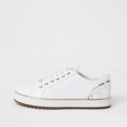 River Island Womens White knitted lace-up cleated trainers found on MODAPINS from River Island - UK for USD $44.12