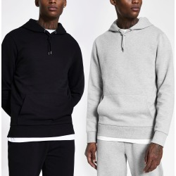 Mens River Island Grey and black hoodie 2 pack
