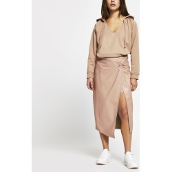 River Island Womens Petite Pink Faux Leather Wrap Midi Skirt found on Bargain Bro UK from River Island - UK
