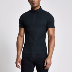 Mens River Island Navy muscle fit ribbed polo top