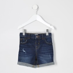 River Island Mini boys dark blue Dylan slim fit shorts