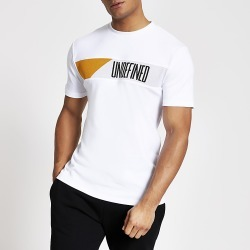 River Island Mens Undefined white blocked slim fit T-shirt