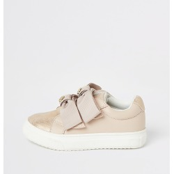 River Island Mini girls pink bow strap trainers