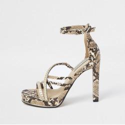 River Island Womens Beige snake print strappy platform heels found on Bargain Bro UK from River Island - UK
