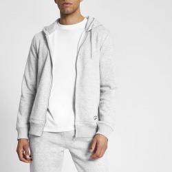 Mens River Island Prolific Grey marl zip front slim fit hoodie