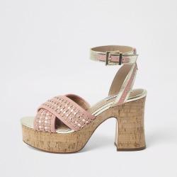River Island Womens Orange woven block heel sandal found on Bargain Bro UK from River Island - UK