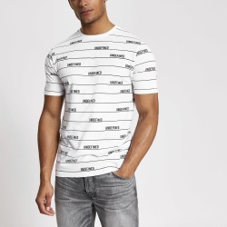 Mens River Island Undefined White stripe slim fit T-shirt