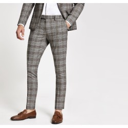 Mens River Island Brown check super skinny suit trousers