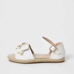 River Island Girls white bow espadrille sandals